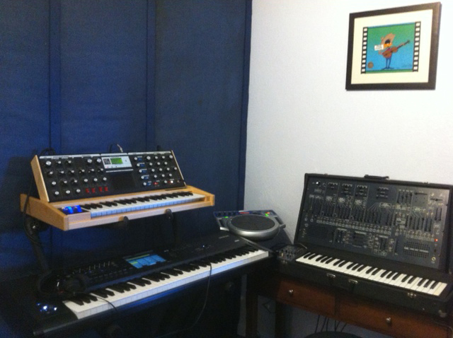 restoration of the ARP2600, the addition of an Anniversary MiniMoog Voyager (Signature Model - in a lovely, Maple hardwood case), and a new Korg Kronos 73
