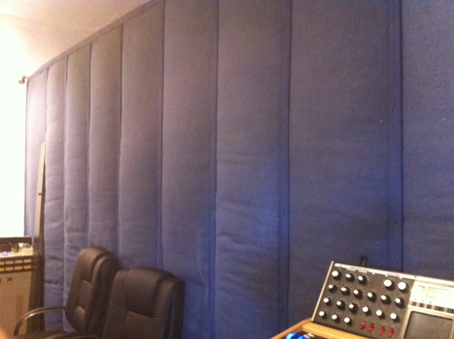 """the 'dead' wall at the back of the control room- made as 2 feet thick sound-absorbing material, to """"kill"""" the back wall and make the control sound and feel much bigger than the actual space permitted"""